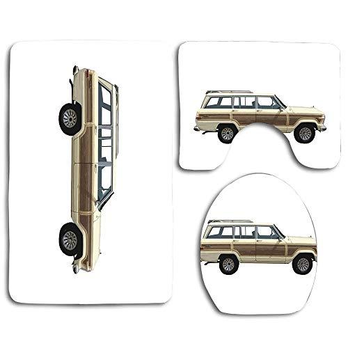 (Jeep Wagoneer Bathroom Carpet Rug Non-Slip 3 Piece Toilet Mat Set, Contour Mat + Lid Toilet Cover + Bath Mat)