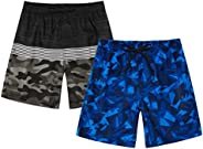 TEXFIT Boy's 2-Pack Quick Dry Swim Trunks for 7-14yrs Boys with Mesh Lining and Pockets (2pcs