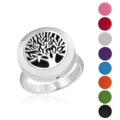 BESTTERN Essential Oil Diffuser Ring - 20mm Stainless Steel Aromatherapy Ring/Band with 8 Color Felt Pad, Oil Diffuser Jewelry for Women, Tree of Life (Size 6)