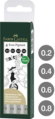 Faber Castell 167004 – Estuche Con 4 Rotuladores Calibrados ECCO Pigment Con Grosores De Trazo De 0.2, 0.4, 0.6, 0.8…