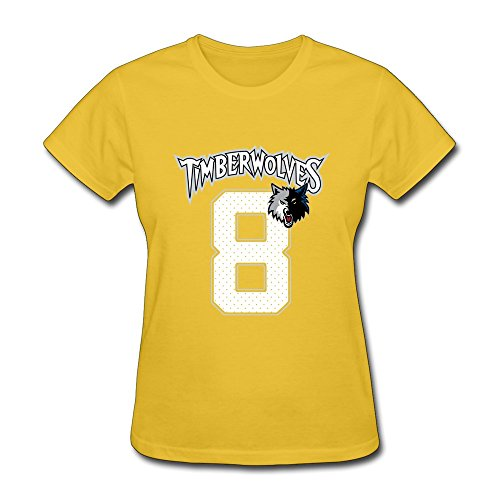 Women's T Shirt-Classic Zach LaVine 8# Basketball Players Yellow SizeXS