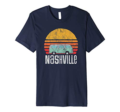 Nashville, TN - Vintage Hippie Van Road Trip Graphic Premium T-Shirt (Best Weekend Trips From Nashville)