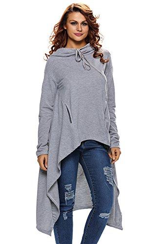 Ussuperstar Women's Casual Irregular Hoodie Pullover Sweatshirt W Drawstrings - Valentineday Date