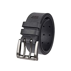 Levi's Men's Work Belt – Heavy Duty Thick Wide Soft Leather Strap with Silver Double Prong Buckle