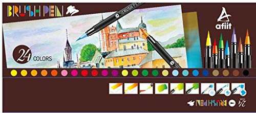 24 Water Color Markers Watercolor Pens Watercolor Brush Pens Set Fineliner Pens Case for Kids Water Based Paint Brushes Bonus Refillable Professional Artist Painting Nylon Tip Real Art Markers Mess Fr by AFIIT (Image #5)