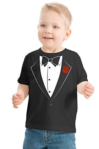 Ann Arbor T-shirt Co. Big Boys' Tuxedo Tee | Kid's Wedding Youth & Toddler Shirt-Youth Small (6-8) Black