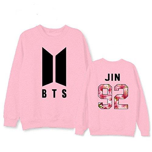 Sweatshirt Military Logo (mainlead Kpop BTS New Logo Bangtan Boys Hoodie Bon Voyage S2 Sweatershirt Army Athleisure(Jin, Large, Pink))