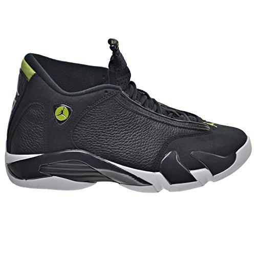 Air Jordan 14 Retro Sneakers (Nike Mens AIR JORDAN 14 RETRO, BLACK/BLACK-WHITE-VIVID GREEN, 9.5)