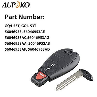 Aupoko GQ4-53T Keyless Entry Remote Key Fob, 3 Buttons Smart Key 56046953,56046953AE, 56046953AC,56046953AG, Fits for Dodge Ram 1500 2500 3500: Automotive