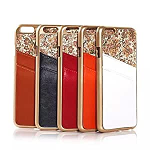 SHOUJIKE Floral Print Design Genuine Leather and PC Material Back Cover for iPhone 6(Assorted Colors) , Orange