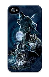 Bark At The Moon Wolf Polycarbonate Hard Case Cover for iPhone 4/4S 3D
