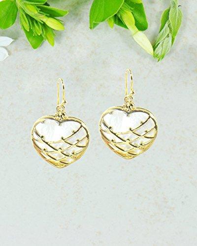 SIVALYA WILDFLOWER Heart Moonstone Gold Vermeil Earrings, Earrings in 925 Sterling Silver with 14K Gold Plating, Great Gift for (Sterling Vermeil Earrings)