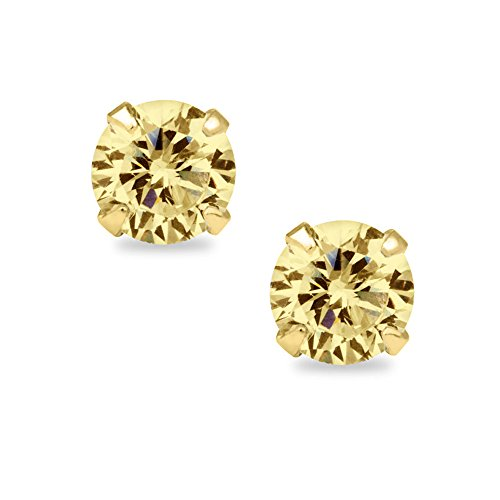 14k Yellow Gold Round-cut 4mm CZ Birthstone Earring Safety Screw-back Studs (Gold November Birthstone Earrings)