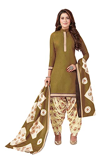 Miraan Women Cotton Unstitched Dress Material (BANDCOL832, Green, Free Size)
