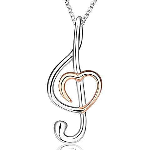 Apotie 925 Sterling Silver Jewelry Musical Note Love Heart Necklace Pendant For Women, Cross Chain (Love Jewelry For Men)