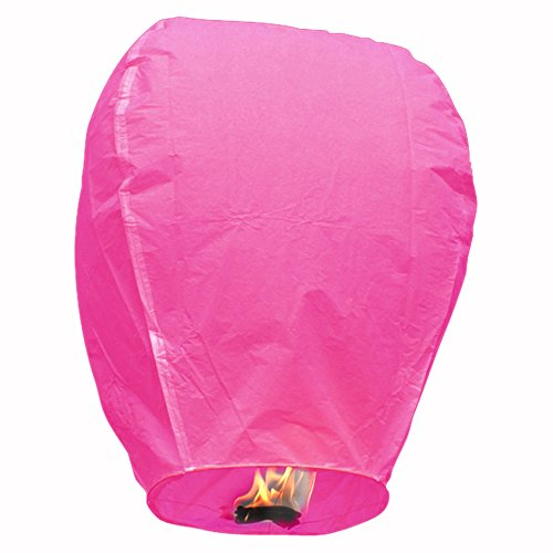 (Sky Lantern - Chinese Paper Flying Wish Candle (Hot Pink/Pack of 5))