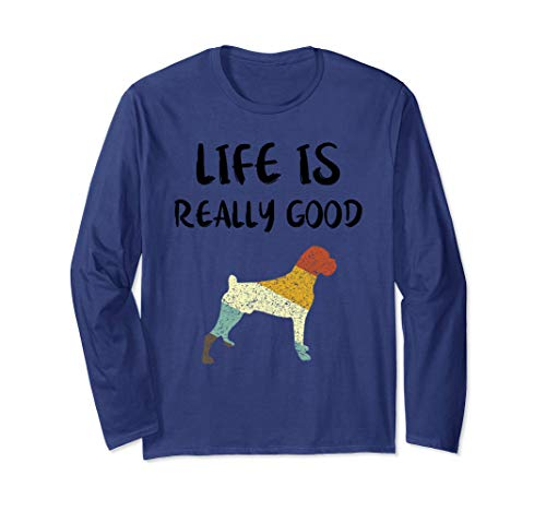 Vintage Boxer Life Is Really Good Retro Dog Mom Dad Gift  Long Sleeve T-Shirt