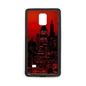 Jumphigh Red Sky at Night New York City Samsung Galaxy Note 4 Cases, [Black]