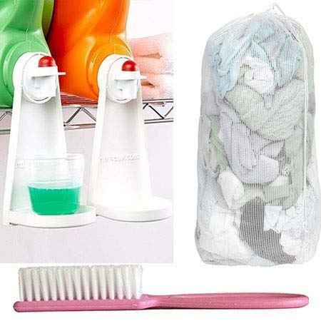 Tidy Cup Laundry Detergent and Fabric Softener Gadget Plus Lingerie Laundry Bag and Stain Brush. 2 Tidy Cups