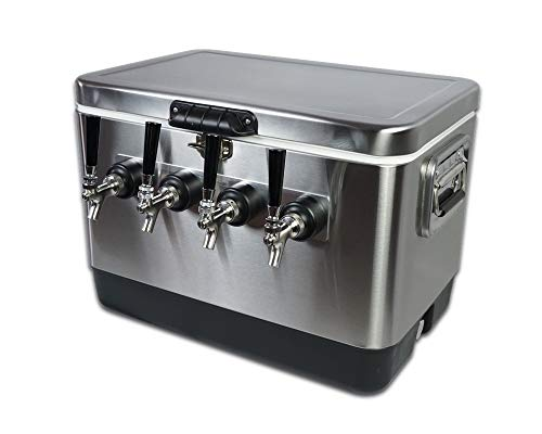 - Coldbreak Brewing Equipment 4TSPT COLDBREAK Jockey Box, 4 Taps, Rear Inputs, 54 Quart Cooler, 50' Coils, Steel Shanks, Includes Stainless Faucets, Silver