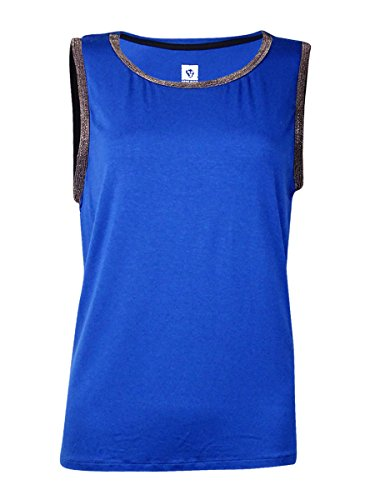 Bead Embellished Blouse (Anne Klein Women's Gunmetal Bead Trim Tank, Raven Blue, Medium)