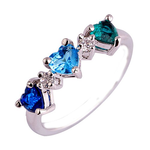 Empsoul 925 Sterling Silver Natural Chic Filled Green Tourmaline Topaz Love Promise Engagement Ring Heart Shaped
