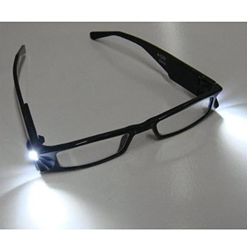 +1.0 LED Reading Glasses D13Lighted Readers Presbyopic Black Full Frame Rectangular Reading Eyeglass with Led Light Power / Diopter for Men Women Reading in Dark - Power Eyeglasses