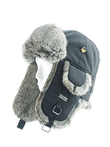 Quilted Fur Hat (FUR WINTER Taslon Rabbit Fur Aviator Trapper Hat BLK/GRY S/M)