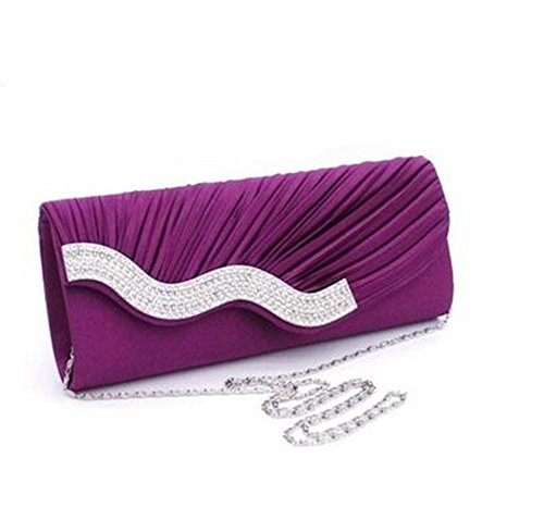 Rhinestone Evening Body Bag Pleated Clutches Cross Nodykka �� Embellished Handbags Purple Purse Wedding qIUxO