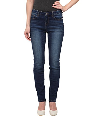 Blue Straight Leg Button (Allee Jeans Allée Jeans, Women's Dark Blue Mid-Rise Straight Jeans (Tulipe) (30))