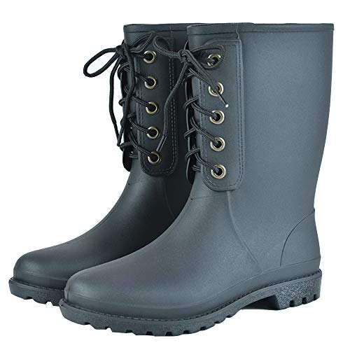 Mini Balabala Black Womens Rain Boots Wide Calf Waterproof Work Boots Women Garden Boots Womens Rubber Boots Size 7 Work Farm Boot Women Rain Booties
