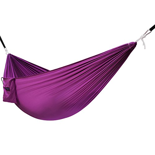 Yes4All Lightweight Double Camping Hammock with Strap & Carry Bag - Nylon Parachute Hammock / Lightweight Portable Hammock for Camping, Hiking (Purple)