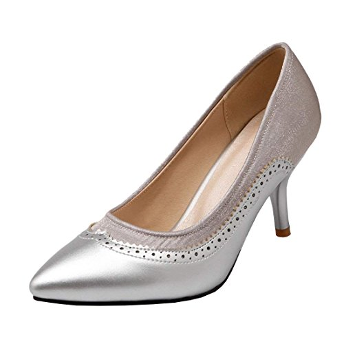 Haut Escarpin Pointu YE Bout Aiguille Chaussure Elegant Argent Femme Talon XqBx8w