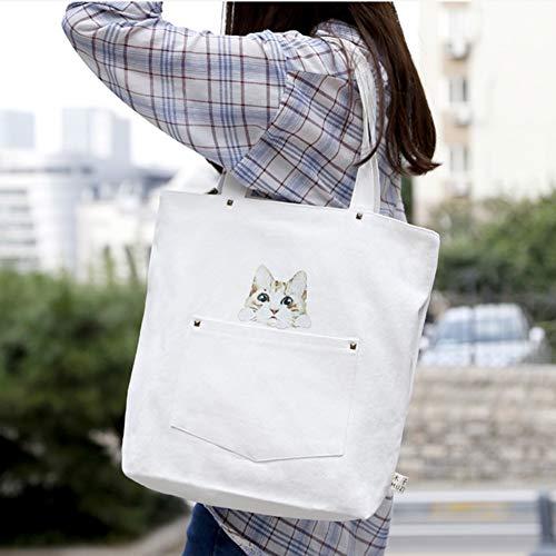 Compras La Las Viajes De White Miss Jj Adecuado Escolares Capacidad Bolso Mujer Simple Para Lona Impreso Gran wSF4qzCx