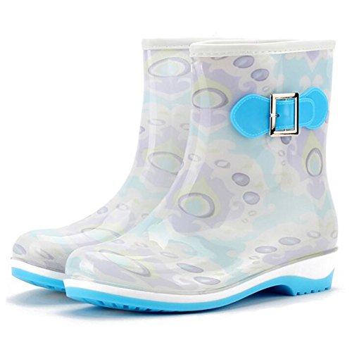 Highdas Womens Rain Boots Ladies Wellies Slip On Low Wellington Boots Rubber Rain Blue K0RLOBI