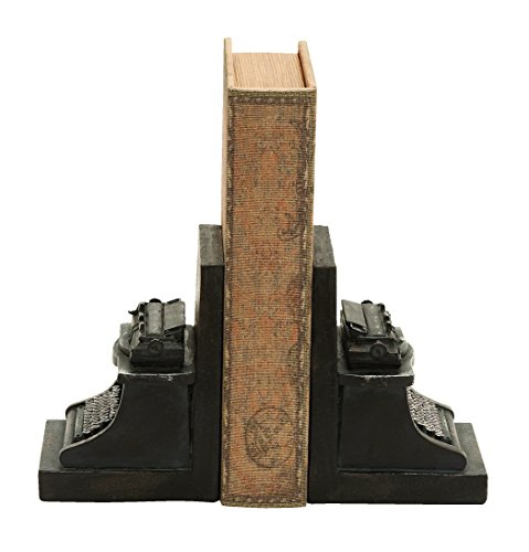 Deco 79 Poly-Stone Typewriter Bookend, 7 by 5-Inch, Set of 2