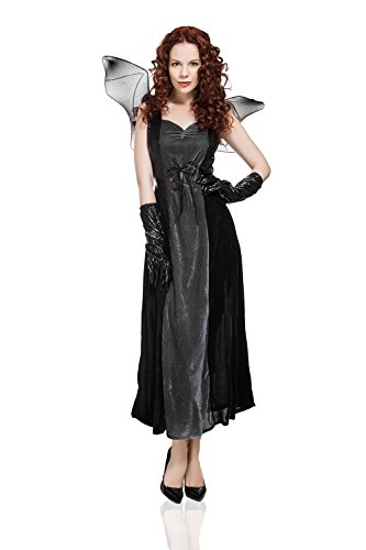 Undead Costume The (Adult Women Bat Costume Halloween Cosplay & Role Play Evil Night Demon Dress Up (Small/Medium, Black,)