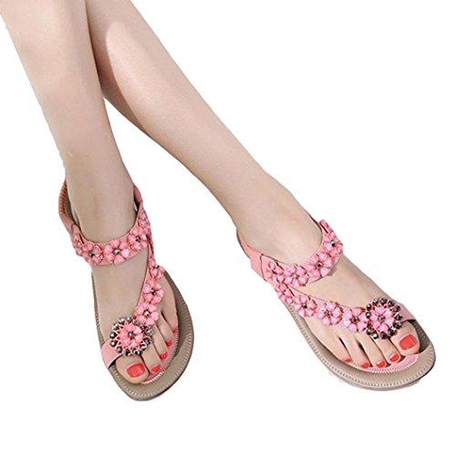 Shybuy Flat Sandal, Women Ladies Beach Sandals Slingback Ankle Strap Rhinestone Flower Flats Thong Slipper (8.5, Pink) by Shybuy