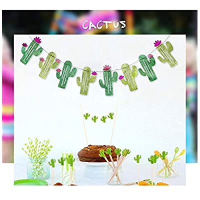 Cieovo 2 Sets Cactus Banners Garland Cactus Party Supplies Decorations for Party Wedding Birthday Baby Shower Bridal Shower Tropical Party Festival Luau Hawaii Decorations: Health & Personal Care
