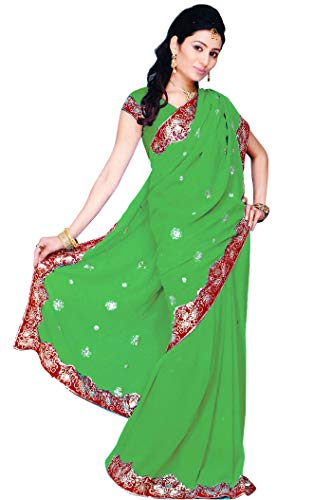 Indian Trendy Women's Bollywood Sequin Embroidered Sari Festival Saree Unstitched Blouse Piece Costume Boho Party Wear (Emerald)