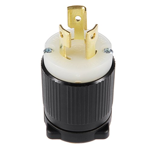 uxcell UL Listed, Locking Plug, 15A, AC 125V, NEMA L5-15P, 2P, 3W, Industrial Grade, Grouding, for Generator Power Cable, US Plug, YUADON Authorized (125v Type 15a Plug)