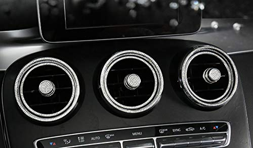 Inner Vent - Boobo Ice Out 6 Rings AC Vent Inner+Outer Cover Frame Badge Bling Insert Emblem with Genuine Austrian Crystal Insert for Mercedes Benz C250 C300 C350 New C-Class GLC300 GLC350 GLC63 (Silver)