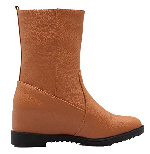 Cuir Bottes Unie Correct Brun Shoes Ageemi Couleur Pu Tire Haut À Femme Bas Talon 7OwqtzYq