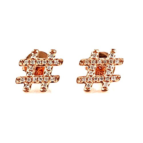 0.12ct Round Pavé Diamonds in 14K Rose Gold Mini Hashtag Stud Earrings (Rose-Gold)