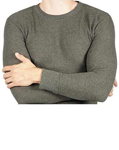 Joe Boxer Thermal Crew Tops - Base Layer Shirt - Long Sleeve Undershirt (Charcoal Grey, ()