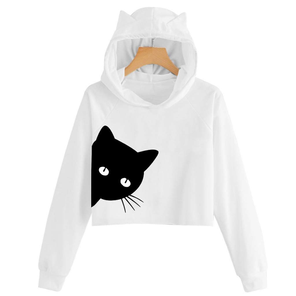 Sunhusing Ladies Little Kitten Print Long Sleeve Hooded Short Sweatshirt Tunic Top Pullover Shirt at Amazon Womens Clothing store: