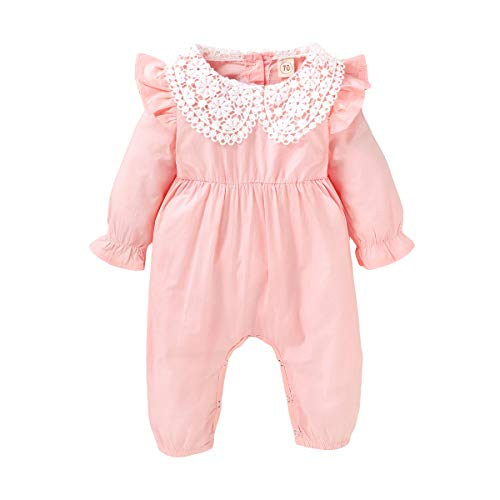 Baby Girl Newborn Jumpsuit Long Sleeve Ruffle Lace Romper Vintage Baby Bodysuit and Onesie Spring Girl Clothes (Retro Pink,3-6 Months)