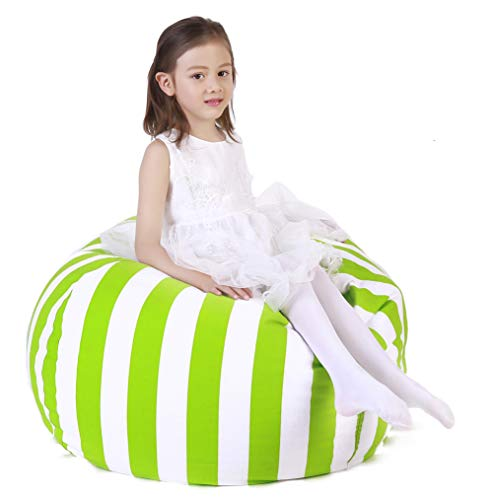Stuffed Animal Storage Bean Bag Chair, Bean Bag Cover for Organizing Kid's Room - Fits a Lot of Stuffed Animals, Large Size 48, Green Stripe