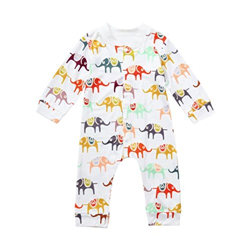 Vinjeely 2pcs Infant Baby Boys Girls Romper/Clothes Outfits Elephant Print Tops+Pants Outfits 0-24M (6-12Months, Romper)