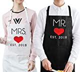 His and Hers Matching Aprons for Couples,Cotton Embroidered Aprons Wedding Gift Set
